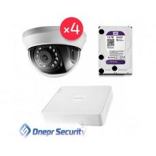 Комплект видеонаблюдения Hikvision 4 камеры для помещения