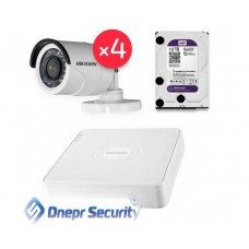 Комплект видеонаблюдения Hikvision 4 камеры для улицы