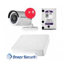 Комплект видеонаблюдения Hikvision 8 камер для улицы