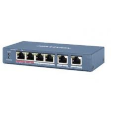 Коммутатор на 4 канала PoE Hikvision DS-3E0106HP-E